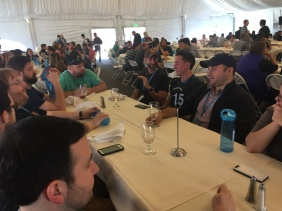 Inside the Lunch tent with a few team members