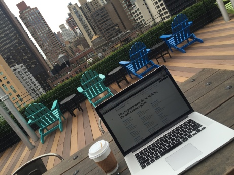 Working from a rooftop in NYC